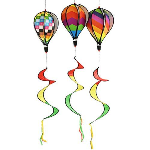 Bloomeet 1 Stück gestreifter Heißluftballon Regenbogen-Pailletten Windspiel für Kinder Spielzeug Geschenk, Regenbogen-Windsocke Garten Rasen Outdoor Dekoration, zufällige Farbe -