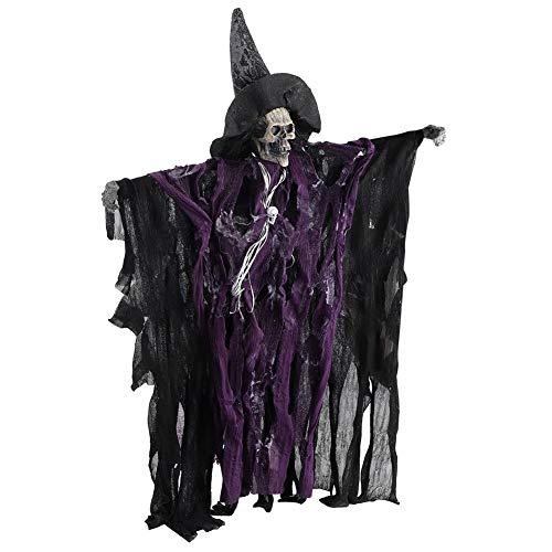 Jeffergarden Lebensechte Halloween Skeleton Dekoration Requisiten Scary Hanging Skull Decor Sound Control Ornament(Lila) (Scary Sounds, Halloween Teil 1)