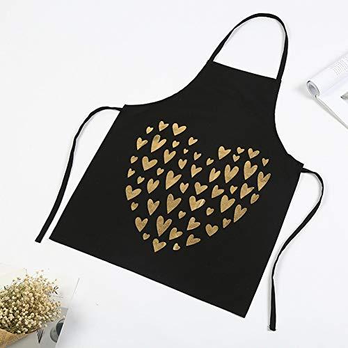 WELQUN Schürze Aprons Küchenschürze Für Frauen Kochschürze Arbeiten Kochschürzen Love Painted Design Lätzchen Wasserdicht Ölbeständig Staubdicht Niedlicher (Hausgemachte Kostüm Frauen Niedlich)