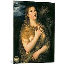 "Cuadro en lienzo: Tizian ""The Penitent Mary Magdalene"" - Impresión artística de alta calidad, lienzo en bastidor, 80x100 cm"
