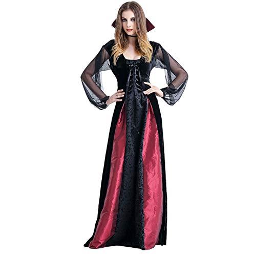 Shiningbaby Hexenvampir Kostüm Halloween Outfit Scary Evil Horror Lange Königin Kleid für Halloween Party Cosplay Bühnenauftritt