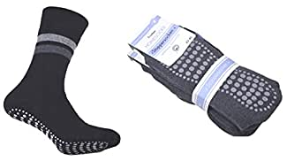 2er Pack Damen & Herren Socken mit ABS Noppen, ohne Gummi, Thermo Socken Frottee, Anti Rutsch Socke, Stoppersocken, anthrazit, Gr. 35/38