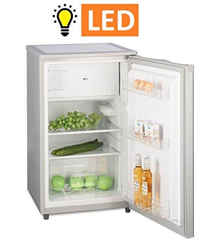 Kühlschrank mit Gefrierfach A++ Silber (90 Liter) 4-Sterne-Gefrierfach (-18 °C) LED-Beleuchtung ✓ Gefrierschrank ✓ Abtauautomatik ✓ höhenverstellbare Glasablagen ✓ Gemüsefach ✓ Türablagen ✓