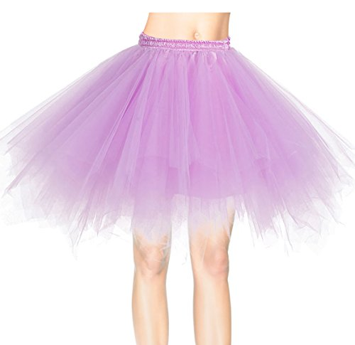 Dresstells Kurz Retro Petticoat 50er Tutu Rock Reifrock Ballett Tanzkleid Unterkleid Rockabilly für Kostüm Party Lavender (Tutu Billig)