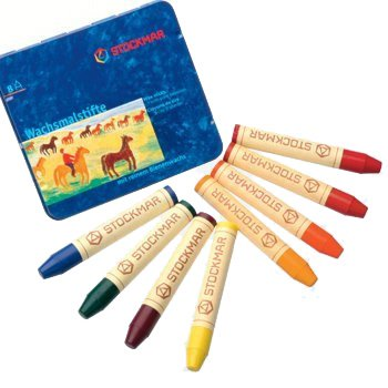 Stockmar Beeswax Stick Crayons in Storage Tin, Multi Color