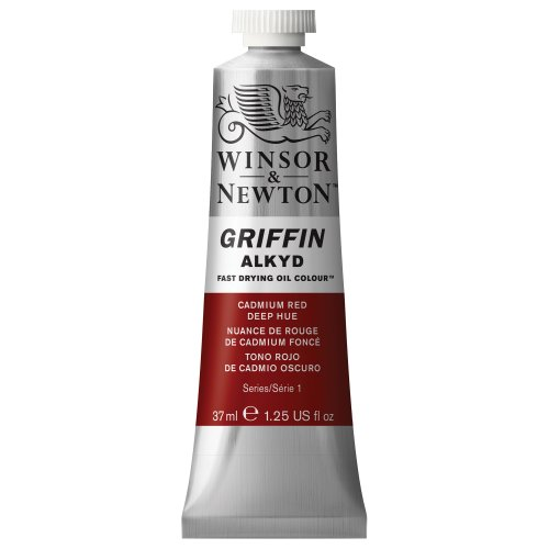 Winsor & Newton 1914098 Griffin Alkyd schnell trocknende Ölfarbe 37ml Tube, hergestellt aus hochwertigen Pigmenten, Lichtecht - Kadmiumrot, dunkler Farbton