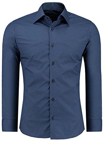 Jeel Langarm Herren Hemd Business Freizeit Hochzeit Slim Fit Tailliert 205 - Navy XL