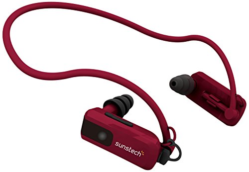 Sunstech TRITON4GBRED - Reproductor de MP3 de 4 GB (resistente al agua, con almohadillas) rojo