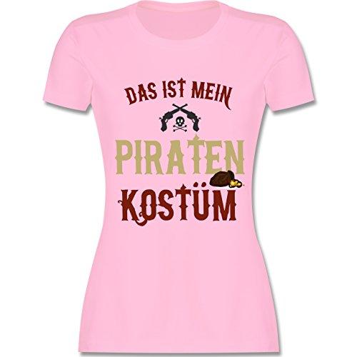 (Karneval & Fasching - Das ist Mein Piraten Kostüm - M - Rosa - L191 - Damen T-Shirt Rundhals)