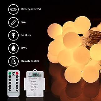Guirnalda de bolas de luz led decorativas para arbol de navidad, bodas, fiestas | Cadena de luces blancas a pilas con mando | Bombillas para decoracion exterior e interior: terraza, jardin, habitacion