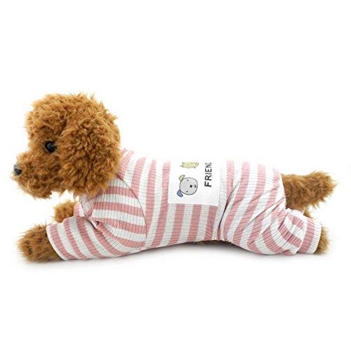 ranphy Kleiner Hund/Katze Outfits Pet Kleidung aus Baumwolle Weiß gestreift Neutral Jumpsuit für Puppy