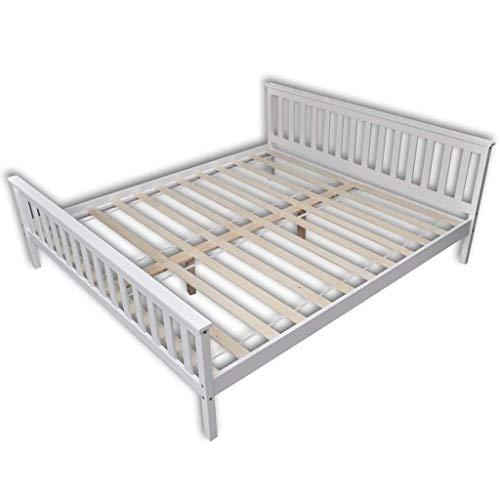 Festnight- Bettgestell Holz Bett Modern Holzbett Doppelbett Massivholzbett mit Lattenrost Kiefer Massiv, Weiß 180 x 200 cm