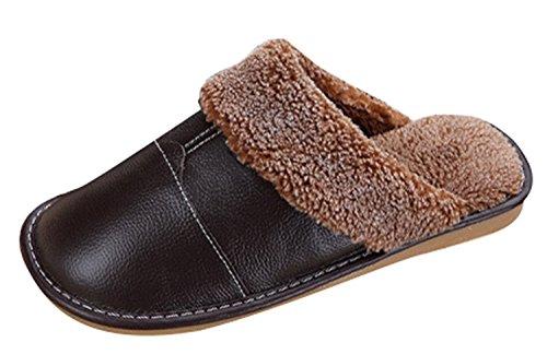 Minetom Inverno Unisex Morbido Caldo Peluche Casa Pantofole Cartone Coniglio Spessore Inferiore Antiscivolo Pattini Donna Uomo Scarpe Slippers B- Nero