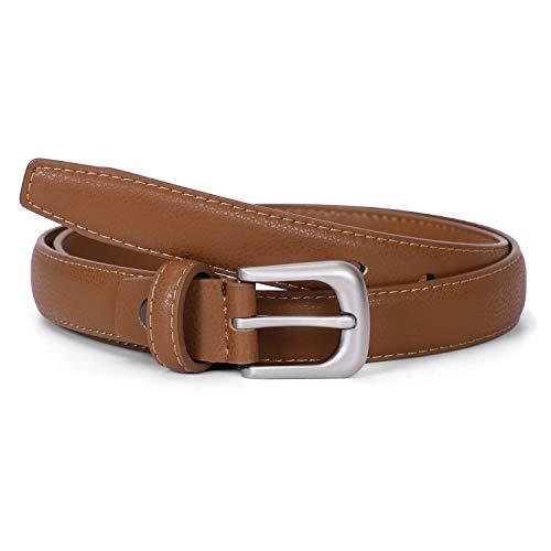 JasGood Damen Skinny Ledergürtel Einfarbig Dornschließ Einfach Taille Gürtel für Jeans Hosen Kleider