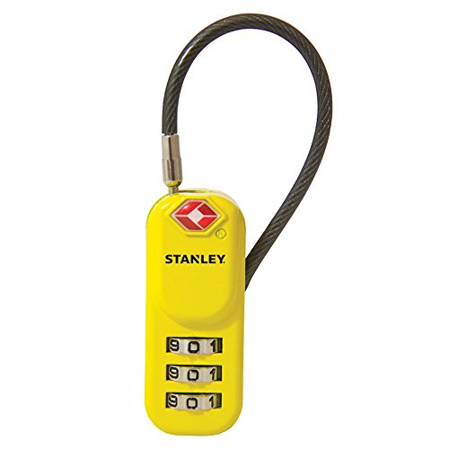 STANLEY TravelMax TSA approved Combination Padlock 20mm yellow 3 Digit vinyl cable, S742-061
