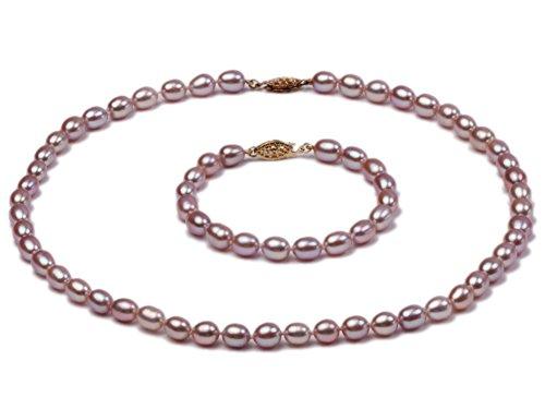 jyx Pearl Jewelry Sets-Lavendel Oval Süßwasser Perlen Halskette und Armband Set-Ausgewählte 7-8mm Perlen (43,2cm)