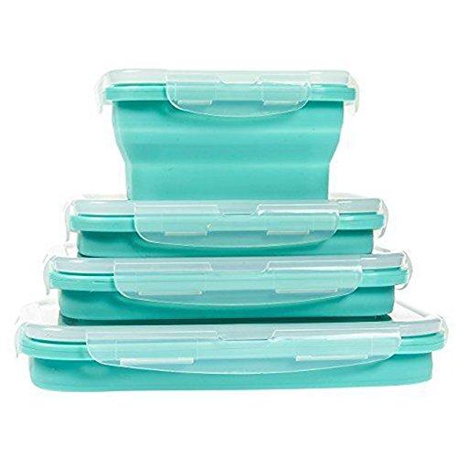 Set da 4 contenitori porta-pranzo in silicone, pieghevoli e portatili, per conservare alimenti, adatti per l'uso in microonde