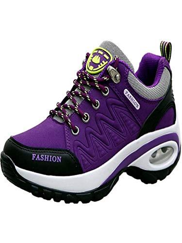 HDUFGJ Sneaker Damen Wanderschuhe Outdoor Trekking Schuhe wasserfestem und atmungsaktivem rutschfest Sportschuhe Walkingschuhe 39(Lila)