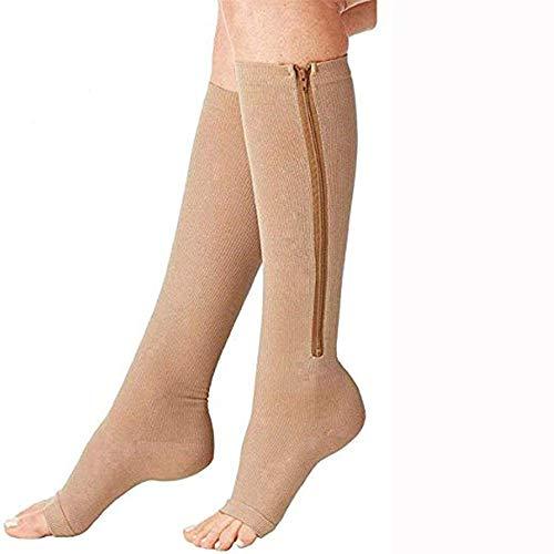 Pupsock Kompressionsstrümpfe, mit Reißverschluss Medical Kompressionsstrümpfe mit Vorne offenem Schuhe, Dehnbare Beinstütze Unisex Kniestrümpfe (3 Paare) (Color : Beige, Size : S)