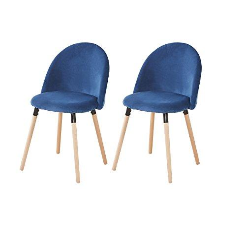 H.J WeDoo 2er Set Vintager Retro Samt Stuhl weich Kissen Sitz und Rücken mit Massivholz Bein Küche...