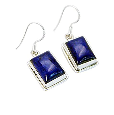 Riyo blauen Lapislazuli 925 Sterling-Silber massiv bejeweled Ohrring l 1.2in Sella-44027