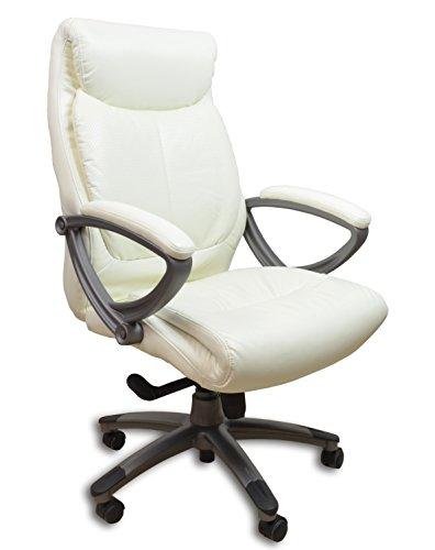 Chefsessel Kings - Weiss Anthrazit Kunstleder - Bürostuhl Schreibtischstuhl Drehstuhl Sessel Stuhl PokerStuhl Casinostuhl Gamerstuhl
