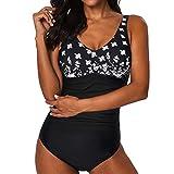 ReooLy Conjunto de Bikini de Mujer siamés Bikini con Push-upSwimwear Bañador de Playa(Negro,Large)