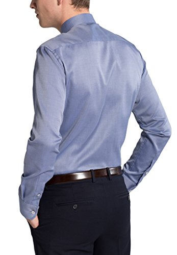 Eterna Long Sleeve Shirt Slim Fit Natté Structured Blu jeans