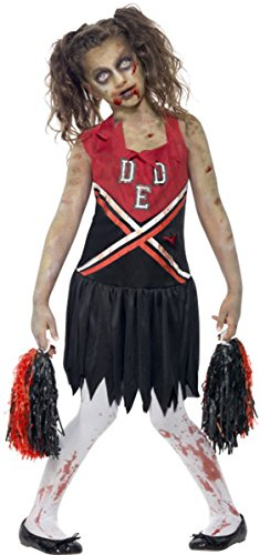 (Halloween Fancy Kleid Mädchen Zombie Cheerleader Kostüm Komplettes Outfit rot/schwarz)