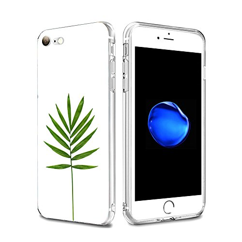 Vanki® Coque iPhone 7, Motif de feuille verte Ultra transparente silicone en gel TPU souple Coque de Bumper et Anti Scratch Shock Absorption for iPhone 7 3