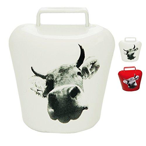 ebos Magnetschelle ✓ Kuh Aufdruck in Bildform ✓ Magnet - ultra stark in schickem Allgäu Motiv ✓ Kuh-Glocke | Blickfang | Super für die Magnetwand oder Kühlschrank | hält 10 DIN A4 Seiten (Weiß) - Kuh-magnet