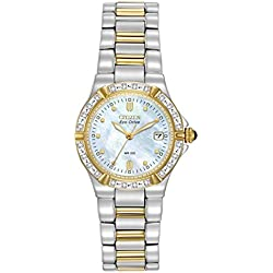 Citizen Women's Eco-Drive Riva Diamond Accented Watch with Mother of Pearl Analogue Display and Stainless Steel Bracelet EW0894-57D