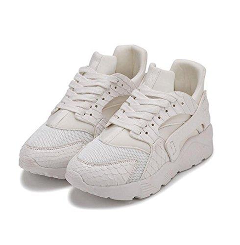 WZG été clair chaussures rembourrage de course chaussures de sport respirant chaussures mailles de course de voyage marée chaussures étudiant White