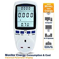 Nevsetpo Power Meter UK Plug Power Monitor Electricity Usage Consumption Cost Monitor Energy Monitor Plug Watts Meter[Energy Class A+++]