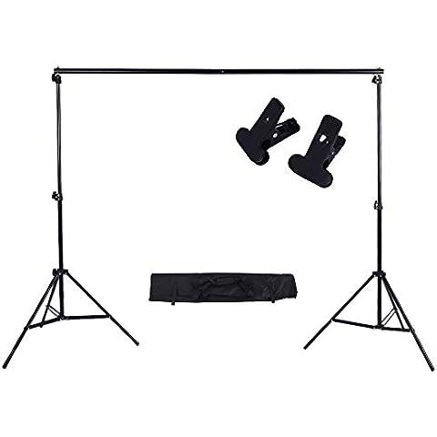 Andoer® 2 * 3 m / 6.6 * 9.8 pies Soporte Ajustable de Telón de fondo de fotografía Juego de Barra Cruzada para Estudio fotográfico con dos abrazaderas (Kit A)