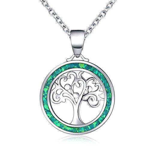Baum des Lebens Halskette Sterling Silber Opal Anhänger Halskette für Frauen rund - Halskette, Geburtsstein Charms Ring,