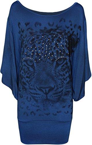 Blusa da donna, con stampa di tigre, con brillantini, taglia 46-64 Blue