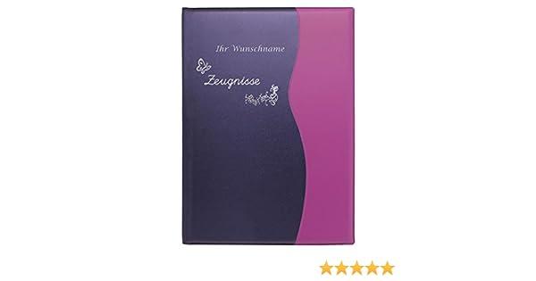 Zeugnismappe mit Gravur metallic lila Zeugnisringbuch A4 mit 10 Hüllen //Farbe