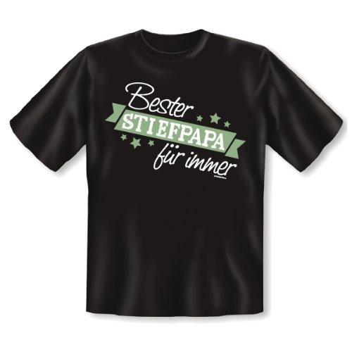 Tolles T-Shirt für den Herrn (Stief-)Papa: Bester Stiefpapa für immer! :) Funshirt Geschenk Vatertag Familie Stiefvater Gr: Farbe: schwarz Schwarz
