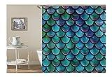 Bishilin Polyester-Stoff 3D Duschvorhang Vintage Blau Grün 3D Lustiger Duschvorhang Vintage 180X200