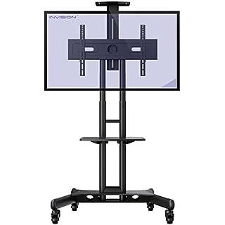 Invision TV Ständer mit Rollen Universal Mobil Wagen Fernsehständer Schwenkbar Standfuß mit Höhenverstellbar Ultra-Stabil Halterung Fernsehtisch für HDR LED LCD VESA 600b x 400h [GT1200 ScreenStation]