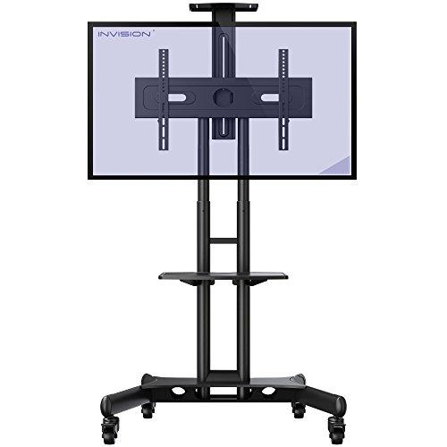 Invision® GT1200 ScreenStation Mobiler TV Ständer Fernsehwagen Standfuß - Kippsicher u. Ultra-stabil Für 32-65 Zoll HDR LED & LCD-Bildschirme Streifenfreie Rollen - VESA 400 600 Montagelöcher [GT1200]