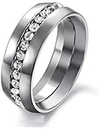 Trendylions Stainless Steel Silver Plated Wedding Ring For Men And Women