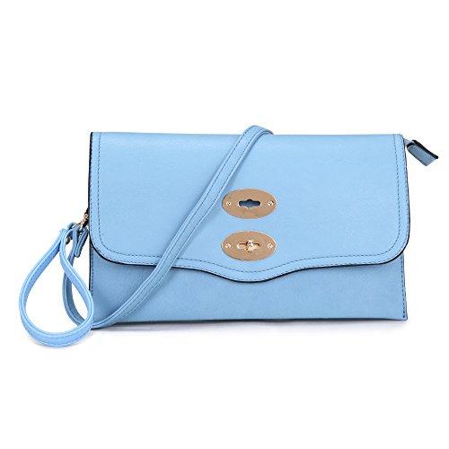 Damen Handgelenkstasche Mittlere Briefumschlag Clutch bag Geldbörse mit Handgelenkbügel und lange adjustable abnehmbare Trageriemen Unterarmtasche Abendtasche