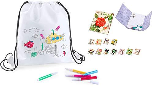 DISOK - Lote 20 Mochilas Petate para Colorear con Rotuladores + 3 Bloc de Notas Floral- Regalos Cumpleaños, Comuniones, Colegios,...