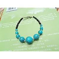 HRCxeuThe Yunnan Tibet Népal National Wind Style ancien bracelet argent tibétain Bijoux Accessoires Chaîne Main Turquoise