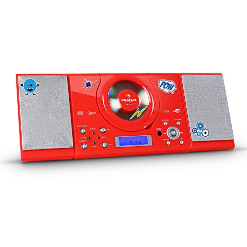 auna MC-120 Stereoanlage Kompaktanlage (Sticker-Set, MP3-fähiger CD-Player, USB-Port, UKW-Radio, AUX, Wecker / Sleeptimer) rot