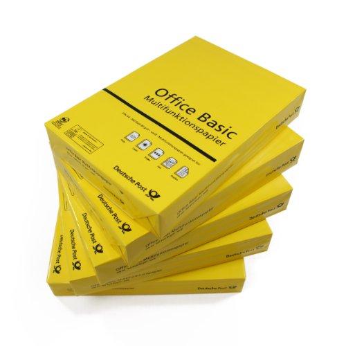 2500 Blatt Multifunktionspapier, Kopierpapier Office Basic DIN A4, weiß, 80g/m² Papier für Laser-/Tintenstrahldrucker/Kopierer/Fax, holzfrei (Post-office-papier)