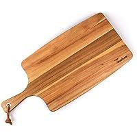 Rustler Schneidebrett / Servierbrett aus Akazienholz FSC® 100%   Holzbrett mit Griff   Servierbrett Holz in braun   55/40 x 25 x 1,8 cm   Küchenbrett zum Zubereiten von Gemüse, Kräuter, Fleisch und Fisch