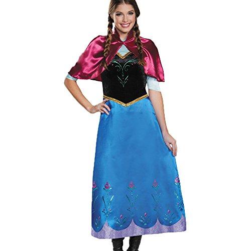 Cosfun Anna Kostüm-Kleid mit Umhang für Kinder Erwachsener inspiriert von Disney für Karneval, Fasching, Eiskönigin-Partys